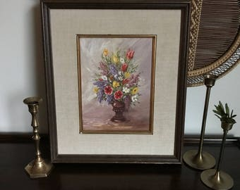 Original Oil Painting / Flowers in Vase / Vintage