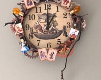 alice in wonderland clock wall clock upcycled repurposed steampunk wooden and