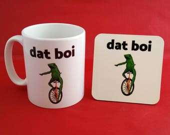 Dat Boi Frog Meme Funny Dank Tumblr Inspired Coffee Tea Mug 10oz and Coaster Set