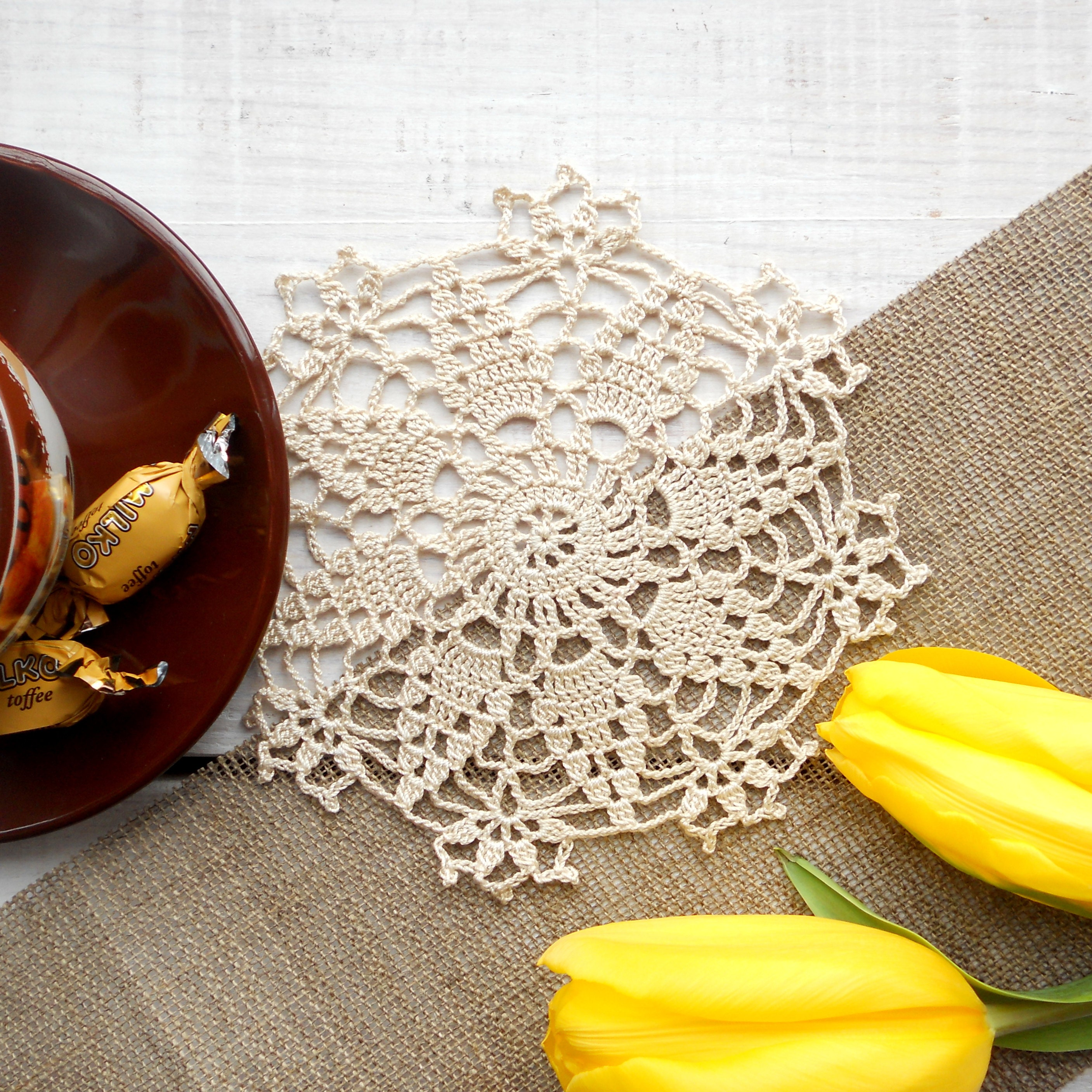 LacesKingdom - Colourful Crochet Lace Doilies, Wedding Favor Bags!
