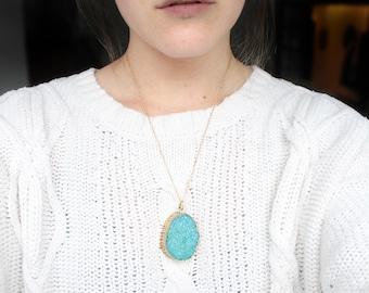 Aqua Blue Druzy Agate Pendant Necklace   Oval Pendant