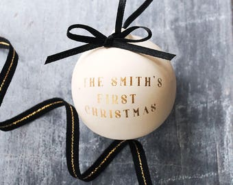 Gold Personalised Family Bauble