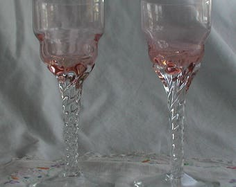 Set of Two Pink Twisted Stem Sherry/Liquer Glasses