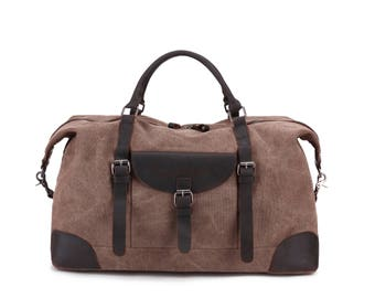 Leather Canvas Weekender ( Light Brown)