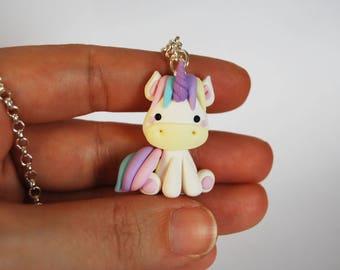 Long necklace Corny lilac glitter nail art-Unicorn Horn