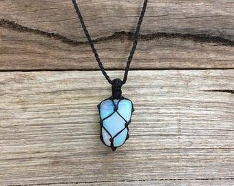 Opalite macrame crystal necklace
