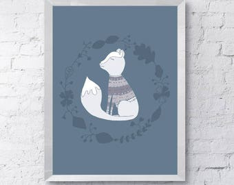 cute Grey fox, Scandinavian style wall art, Printable download, nursery decor