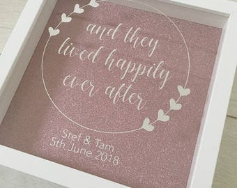 and they lived happily ever after - personalised box frame 3D vinyl wedding anniversary valentines gift