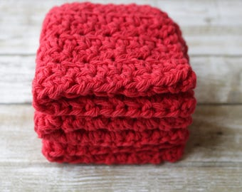Red Crochet Dishcloths, Cotton Washcloths, Cotton Scrubbies, Red Washcloths, Cotton Dishcloths, EcoFriendly, Set 3, Reusable Dishcloth