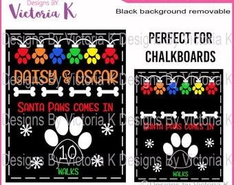 Santa Chalkboard, Christmas dog svg, Christmas Countdown, dog svg, Cut File, SVG, DXF Cut Files, Cricut Design Space, Vinyl Cut Files