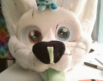Detailed fursuit head base, lined with eyes and nose
