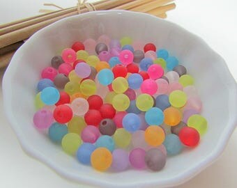 Frosted Pearl, Pearl round acrylic - mixed color frosted 6 mm, 8 mm, 10 mm