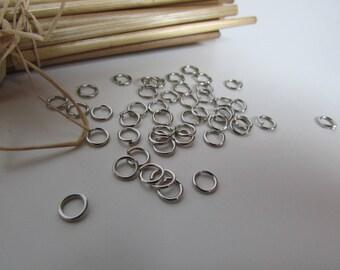 100 Anneaux de jonction 4 mm, 5mm, 6 mm, 7 mm, oval en métal argenté, bronze, doré, cuivré