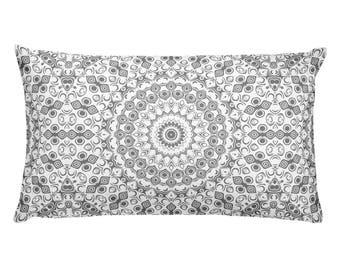 Gray Pillows, Gray and White Mandala Design Rectangle Cushion, Decorative Throw Pillow, 20x12 Lumbar Pillow