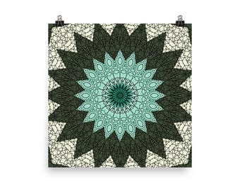 Green and Blue Wall Art, Abstract Mandala Art, Home Decor in Green and Turquoise, Prints