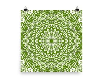 Avocado Wall Art, Abstract Green and White Mandala Art, Home Decor in Green, Art Print