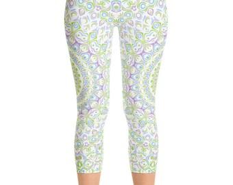 Capris, Spring Yoga Leggings, Cute Printed Leggings, Yoga Pants Womens Pattern Leggings Tights