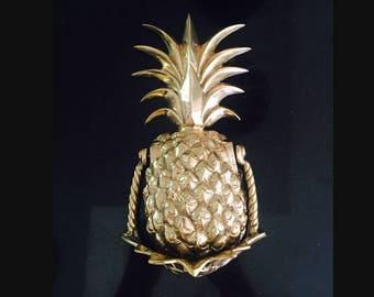 Pineapple Door Knocker, Brass, Gold - large