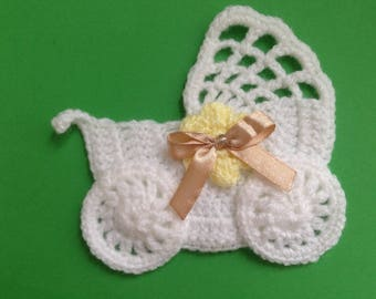 Crochet stroller,pushchair applique,embellishment,motif,sewing,for baby blankets,craft,yellow