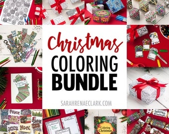HUGE Christmas Coloring Bundle | Printable templates for Christmas gift tags, bookmarks, wrapping paper, crackers, ornaments, cards + more