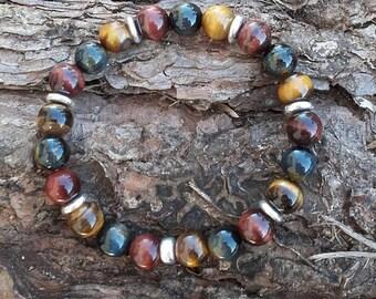 Men Tiger eye, Bull's eye and Hawk Eye spacer 925 silver bracelet