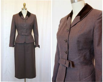 1940s 1950s Women's Wool Suit, Vintage Glenhaven 2-Piece Suit, Fitted Jacket, 50s Suit, XS-S