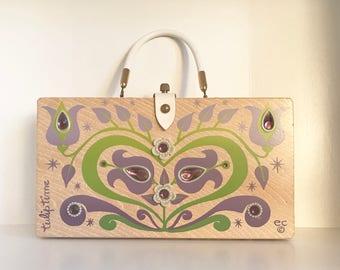 "Enid Collins. ""Tulip Time"" box purse."