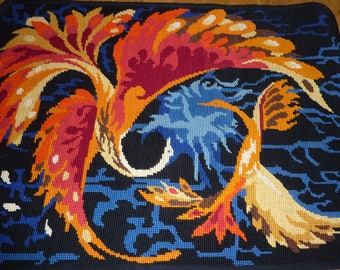 Tapestry canvas bird and flowers 70s France pattern french vintage embroidery needlepoint tapestry
