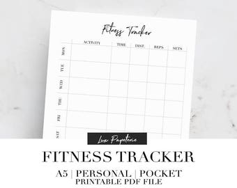 Fitness tracker planner inserts, Printable planner inserts, Weekly fitness tracker, Workout tracker, A5, Personal, Pocket, Filofax inserts