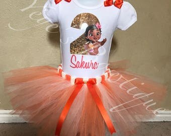 Baby Moana Birthday Tutu Outfit | First Birthday  | Custom Shirt | Personalized Onesie | 1st 2nd 3rd 4th 5th