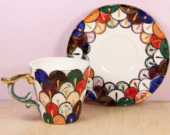 Porcelain cup and saucer for espresso