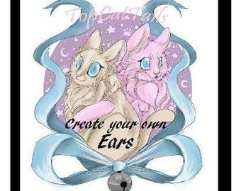 Create Your Own Ears - Kitty Ears, Cosplay, Anime, Pet Play, Furry. Faux Fur, Neko, Kawaii, Lolitta