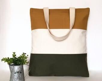 Three Panel Canvas Tote Bag, 3 Panel Canvas Tote Bag, Minimal Canvas Tote Bag, Canvas bag, School Tote Bag, Tote bag with Zipper, Tote bag