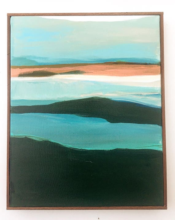 Original Abstract Seascape Painting - Turquoise and Peach