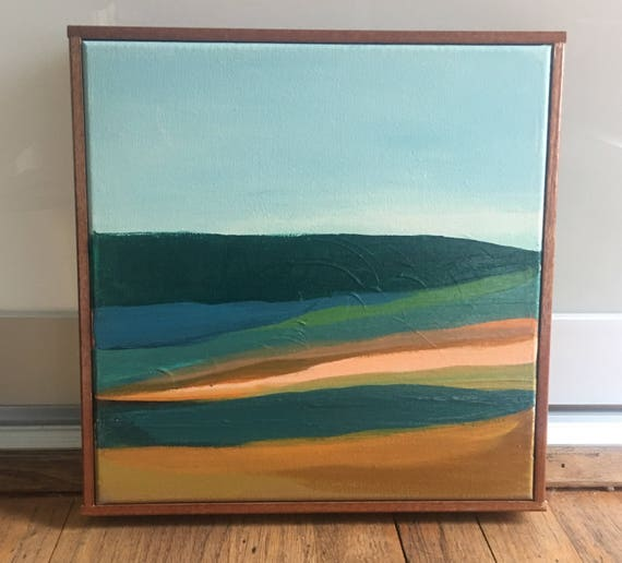 Original Abstract Landscape Painting Framed
