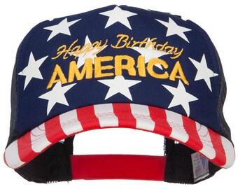 Happy Birthday America Embroidered Foam USA Cap