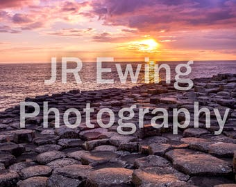 Sunset at the Giants Causeway