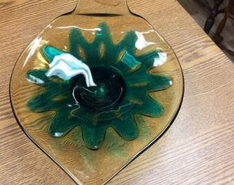 Vintage Glass Leaf Dish