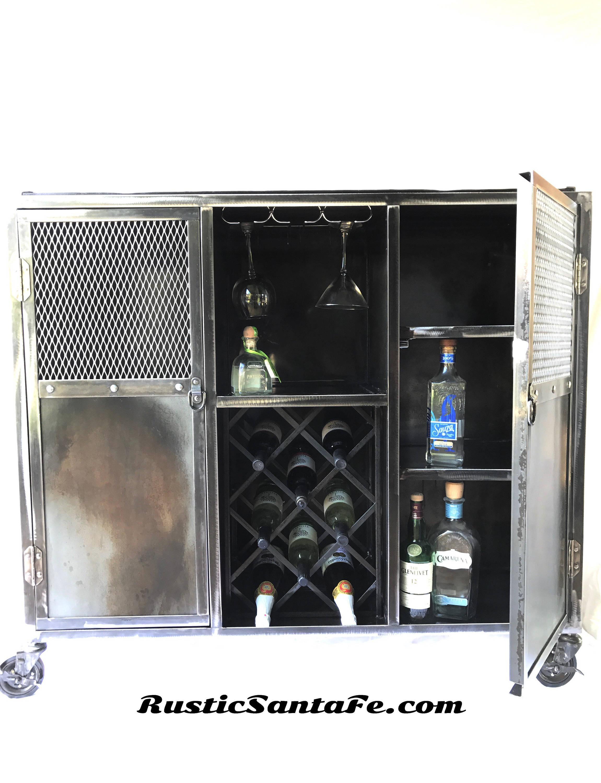 Industrial rolling liquor cabinet modern industrial wine cabinet reclaimed wood and steel locker - Contemporary cabinet knobs wine locker ...