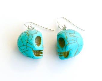 Blue Skull Earrings - Halloween jewelry