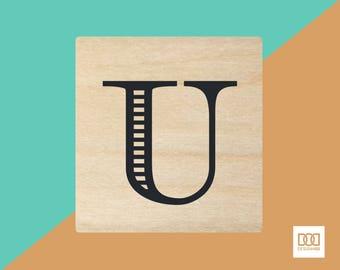 Modern Alphabet-U - 3cm Rubber Stamp (DODRS0175)