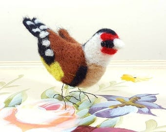 Free standing needle felted Goldfinch
