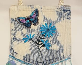 Recycled Jean Pocket Purse Adorned With Turquoise Flowers, Butterfly and Trim