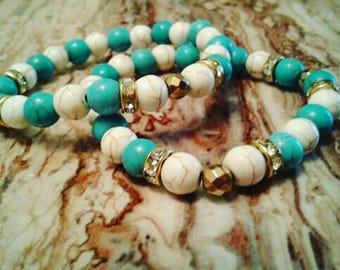 Turquoise Cream and Bronze bracelet