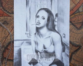 Card drawing / illustration / fanart of Angelina Jolie sexy / trash, realistic style in charcoal
