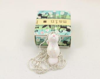 Kitten cold porcelain necklace