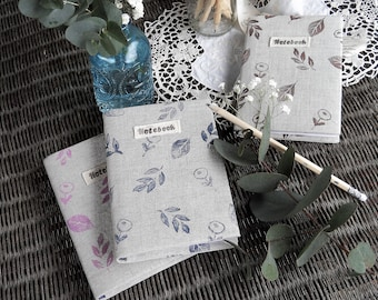 Notebook with hand-printed linen finish