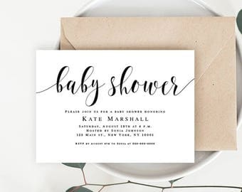 Editable baby shower invitation Neutral baby invitations Editable baby shower invite Simple baby shower invitation Rustic baby shower invite