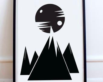 Scandinavian Mountain Range, Scandi moon poster Print- Minimalist, nordic, black and white, winter, high contrast, picture wall