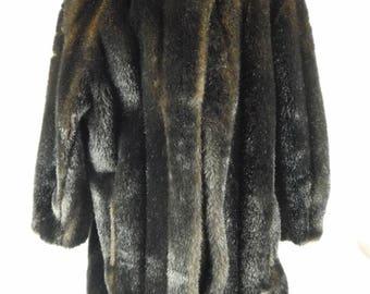 Vintage 1950s/1960s Ladies Hillmoor New York Dark Brown Faux Fur Coat Knee Length USA Made Medium Large Evening Costume Wedding